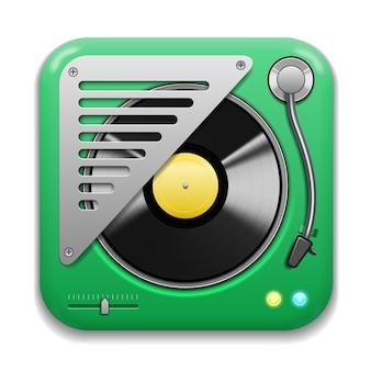 Ícone do app de música, toca-discos realista com placa de vinil