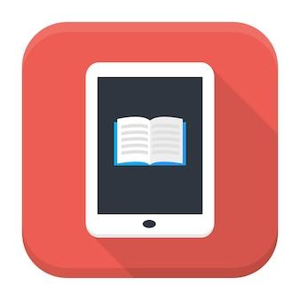 Ícone do app quadrado de vetor de estilo simples. ícone do aplicativo de livro eletrônico com sombra longa