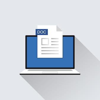 Ícone do arquivo doc na ilustração da tela do laptop. extensão do formato do símbolo do documento