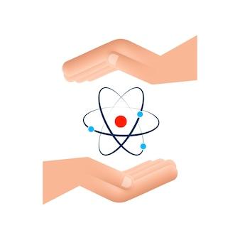 Ícone do átomo sobre o vetor de mãos, símbolos de átomo em fundo branco.