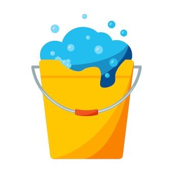 Ícone do balde de lavagem de bolhas balde de cor com espuma de sabão sinal de equipamento de limpeza de lavagem