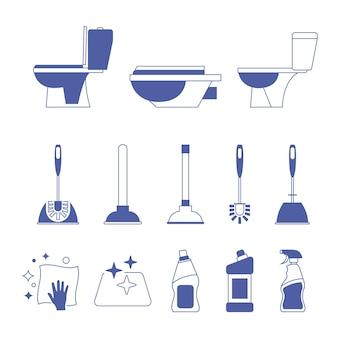 Ícone do banheiro. banheiro. escova de vaso sanitário e êmbolo. serviço de encanamento. frascos químicos domésticos. sanitização de superfícies. guardanapo de limpeza. sinal de saneamento e higiene. equipamentos na limpeza de banheiro. vetor