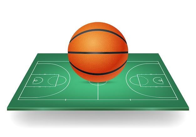 Ícone do basquete - bola em uma quadra verde.