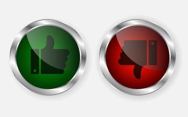 Ícone do botão polegar para cima e polegar para baixo