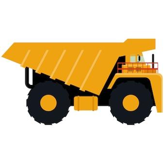 Ícone do caminhão basculante isolado no fundo branco.