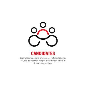 Ícone do candidato. conceito de negócio. escolher o melhor trabalhador. profissional. vetor em fundo branco isolado. eps 10.