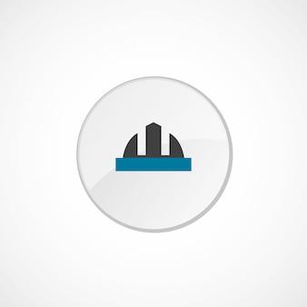 Ícone do capacete de construção 2 colorido, cinza e azul, emblema do círculo