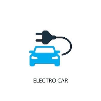 Ícone do carro elétrico. ilustração do elemento do logotipo. projeto do símbolo do carro elétrico da coleção de 2 cores. conceito de carro elétrico simples. pode ser usado na web e no celular.