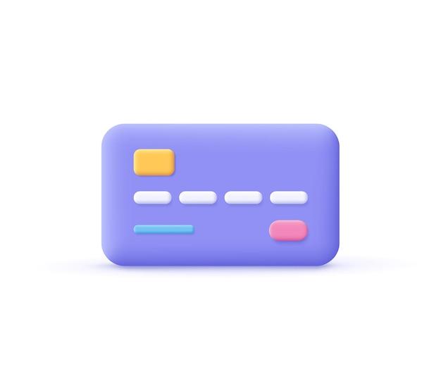 Ícone do cartão de crédito. conceito de negócio, pagamento, finanças. ilustração em vetor 3d.