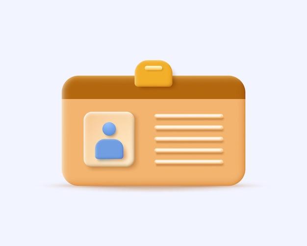 Ícone do cartão de identificação com estilo 3d