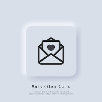 Ícone do cartão de saudação. logotipo do cartão-presente. cartão de dia dos namorados. conceito de amor. vetor. ícone da interface do usuário. botão da web da interface de usuário branco neumorphic ui ux.