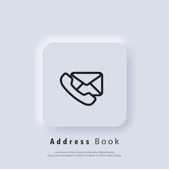 Ícone do catálogo de endereços. ícones de e-mail e mensagens. envelope e telefone. campanha de email marketing. . vetor eps 10. ícone de interface do usuário. botão da web da interface de usuário branco neumorphic ui ux. neumorfismo