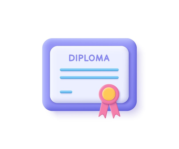 Ícone do certificado. conceitos de realização, prêmio, concessão, diploma. ilustração 3d.