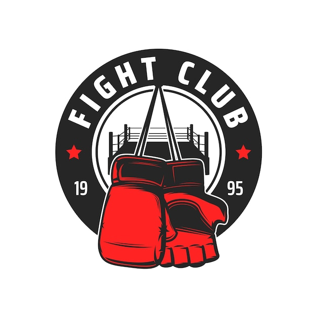 Ícone do clube de luta, luvas e anel do esporte de luta