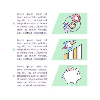 Ícone do conceito de direção financeira com texto. Vetor Premium