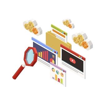 Ícone do conceito de estratégia de marketing com elementos isométricos da área de trabalho, vídeo gráficos, lupa 3d