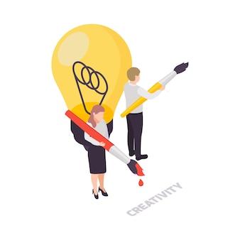 Ícone do conceito de habilidades suaves de criatividade com lâmpada e dois personagens segurando escovas isométricas