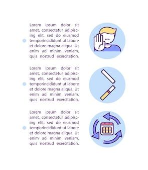 Ícone do conceito de programas de cessação do tabagismo com ilustração de texto