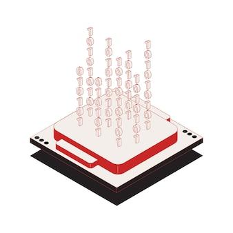 Ícone do conceito de proteção de dados pessoais de segurança cibernética com ilustração de código binário