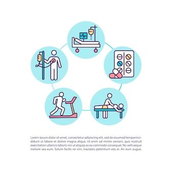 Ícone do conceito de tratamento e reabilitação com ilustração de texto