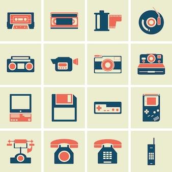 Ícone do conjunto antigo retrô de dispositivos