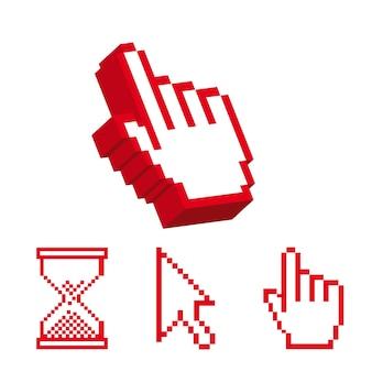 Ícone do cursor sobre o fundo branco, ilustração vetorial