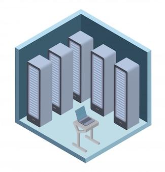 Ícone do data center, sala do servidor. ilustração em projeção isométrica, em branco.