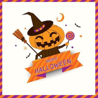 Ícone do design de halloween com abóbora monstro.