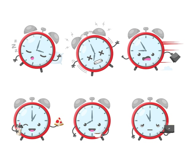 Ícone do despertador e ilustração de gerenciamento de tempo