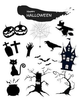Ícone do dia das bruxas ajustado no fundo branco.