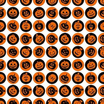 Ícone do dia das bruxas conjunto de alegres abóboras seamleass padrão
