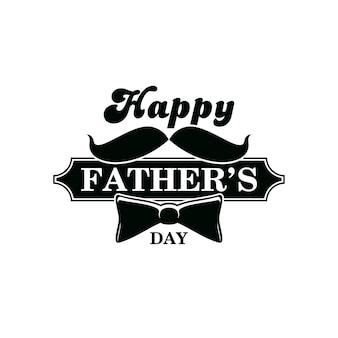 Ícone do dia dos pais, homens e emblema de vetor monocromático família feliz feriado celebração. gravata borboleta, bigode de pais e tipografia vintage. etiqueta retrô de convite de festa para cavalheiros