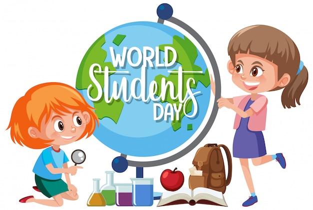 Ícone do dia mundial do estudante Vetor Premium