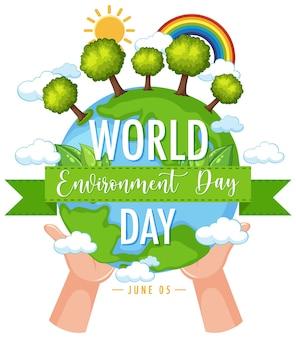 Ícone do dia mundial do meio ambiente com as mãos segurando a terra