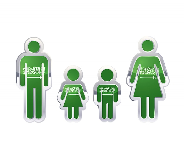 Ícone do distintivo de metal brilhante nas formas de homem, mulher e crianças com bandeira da arábia saudita, elemento infográfico em branco