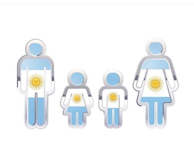 Ícone do distintivo de metal brilhante nas formas de homem, mulher e crianças com bandeira da argentina, elemento infográfico em branco