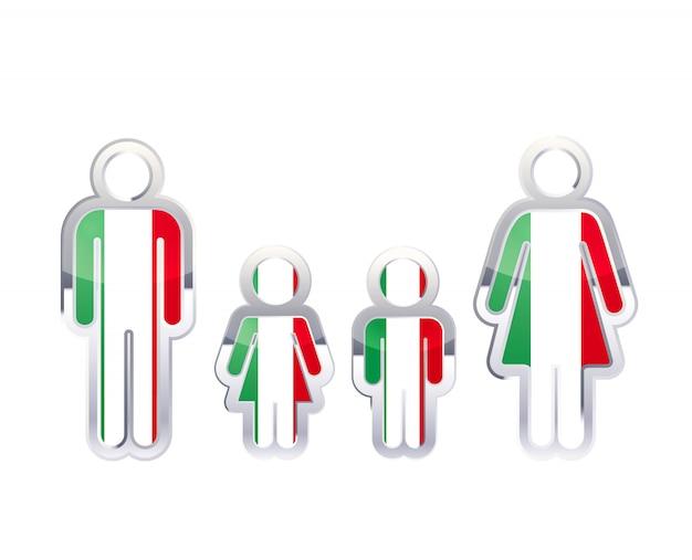 Ícone do distintivo de metal brilhante nas formas de homem, mulher e crianças com bandeira da itália, elemento infográfico em branco