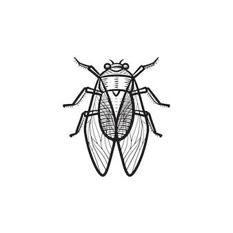 Ícone do doodle do contorno da mosca desenhada mão do vetor. voe a ilustração do esboço para impressão, web, mobile e infográficos isolados no fundo branco.