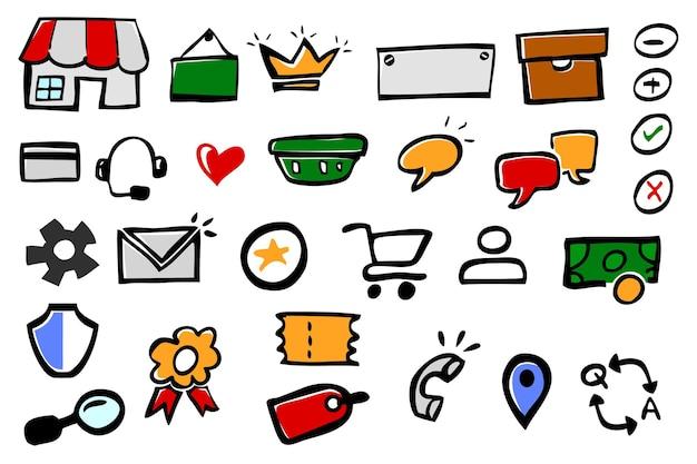 Ícone do doodle do esboço do vetor simples colorido do desenho da mão para o mercado