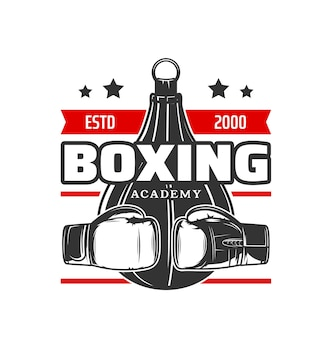 Ícone do esporte de boxe, luvas de boxeador e saco de pancadas