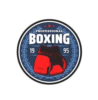 Ícone do esporte profissional de boxe, emblema de vetor do clube de artes marciais de kickboxing. caixa de mma ou muay thai wrestling sport club e placa de centro de treinamento com luvas de boxer e coroa de louros com estrela Vetor Premium