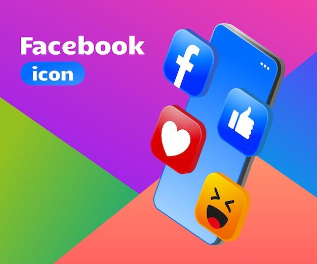 Ícone do facebook com logotipo 3d com smartphone