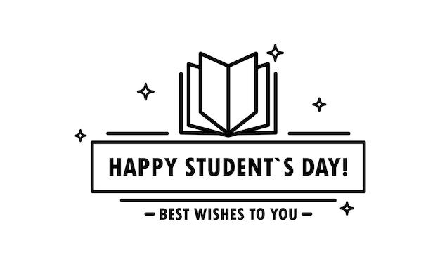 Ícone do feliz dia do aluno em preto e educação