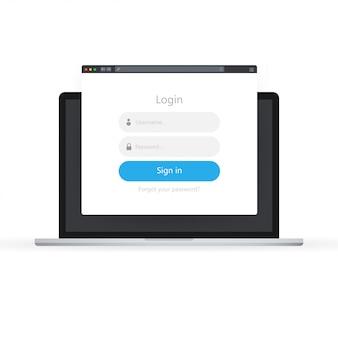 Ícone do formulário de logon. página de formulário de login no laptop.