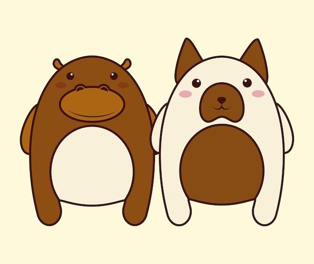 Ícone do gato do hipopótamo do kawaii