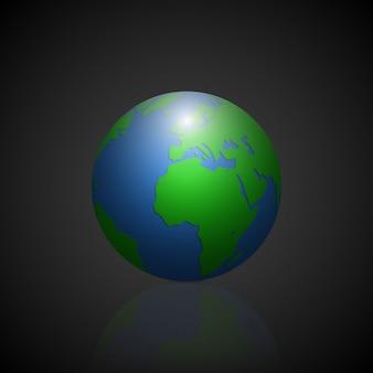 Ícone do globo com os continentes de sombra verde e o planeta de sombra de espelho