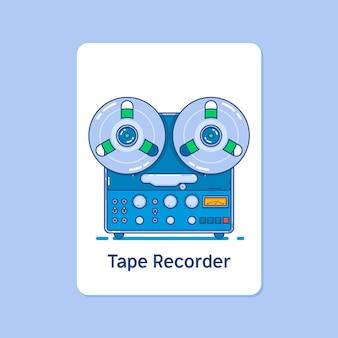 Ícone do gravador de fita bobina no fundo azul. ícones de vetor de traçado linear fino e minúsculo.
