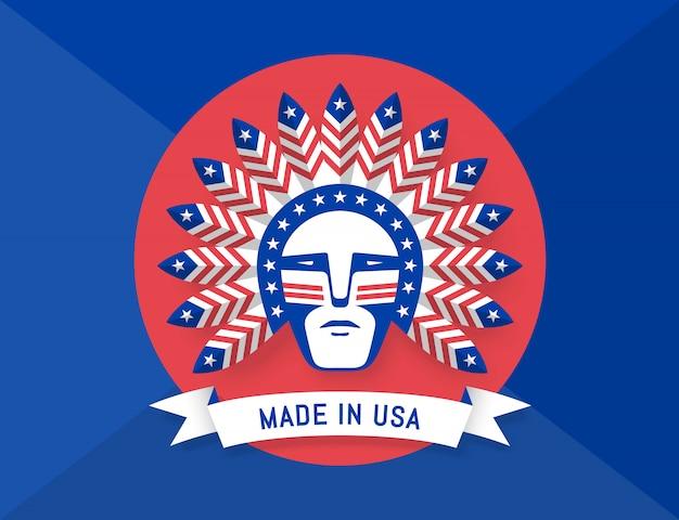 Ícone do homem americano com penas de chefe indiano na cabeça