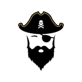 Ícone do homem pirata isolado no fundo branco