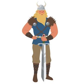 Ícone do homem viking medieval isolado no fundo branco.